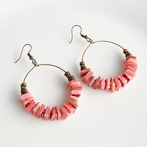 "Jewelry - NEW ""Canyon"" Shell Round Earrings (red)"